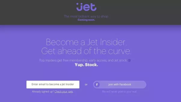 Jet sign up page