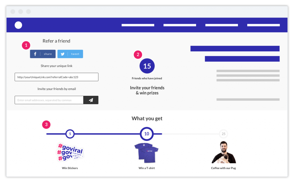 viral loops milestone referral template inspired by harrys