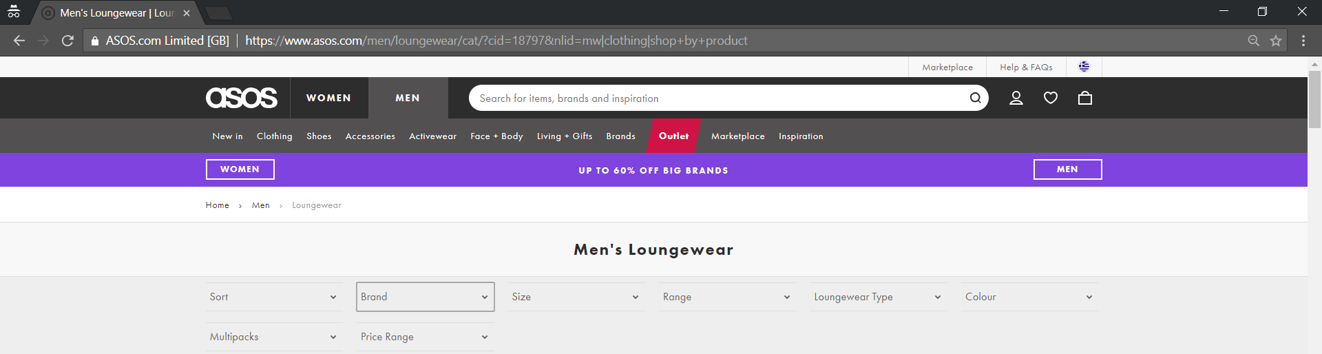 you choose in Asos' secondary menu that you're looking for men's loungewear, this is what the URL looks like:
