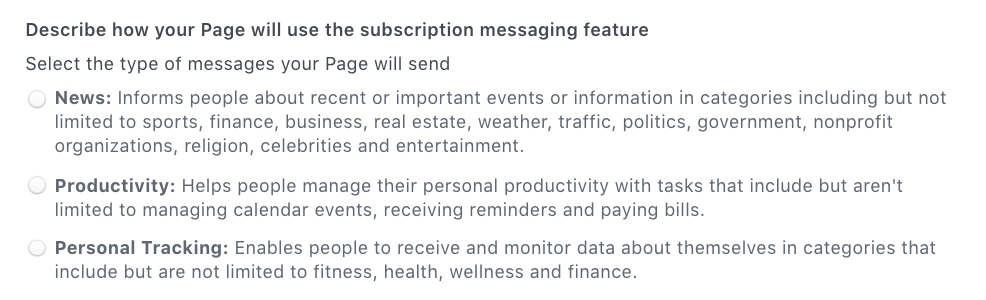 Past categories for level page subscription in Messenger until March 4th, 2020