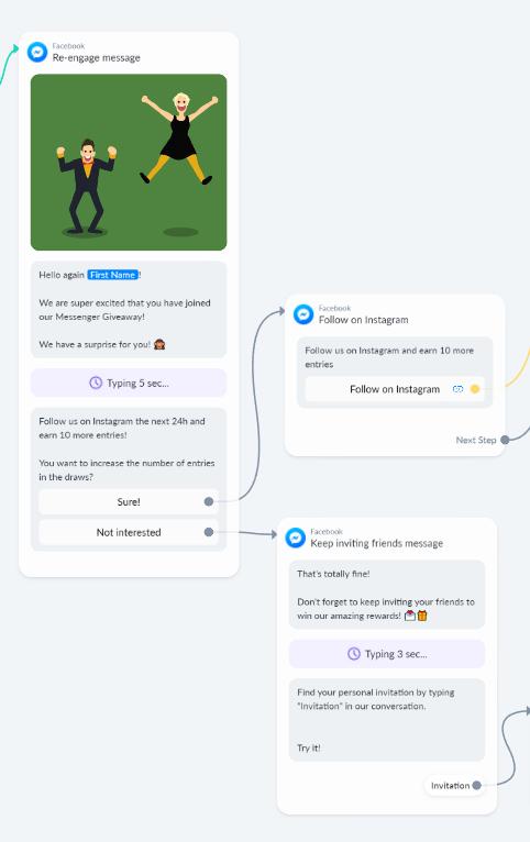 re-engage message inside Viral Loops Messenger Bot Giveaways template