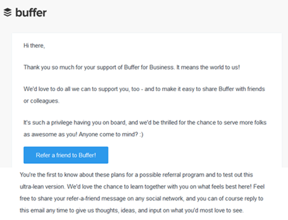 """Buffer""""s referral email. It""""s a text-only email with a button call to action."""