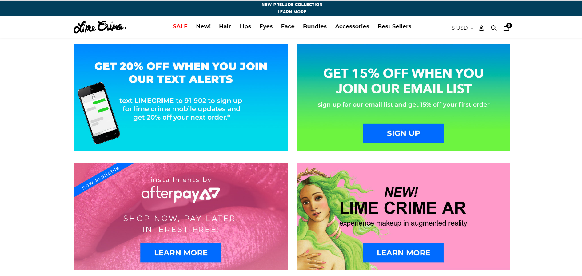 Lime Crime's 'offers' page. It's easy to find at the footer of their website.