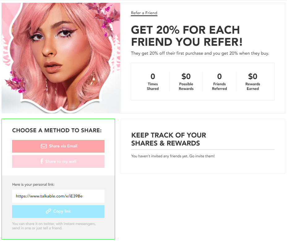 The referral section in Lime Crimes account page.