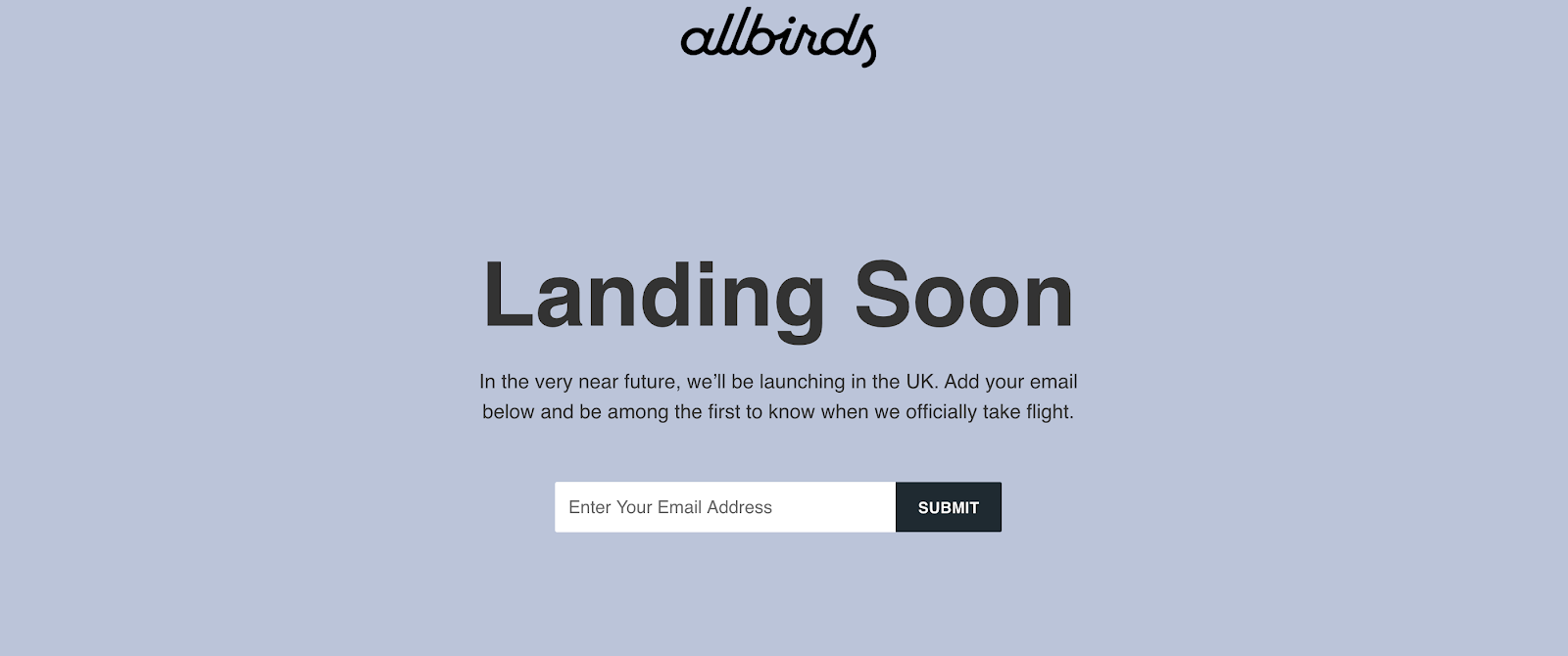allbirds coming soon page
