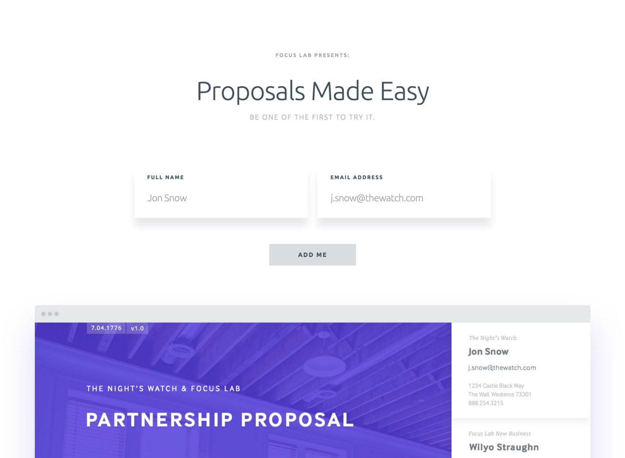 proposals coming soon page