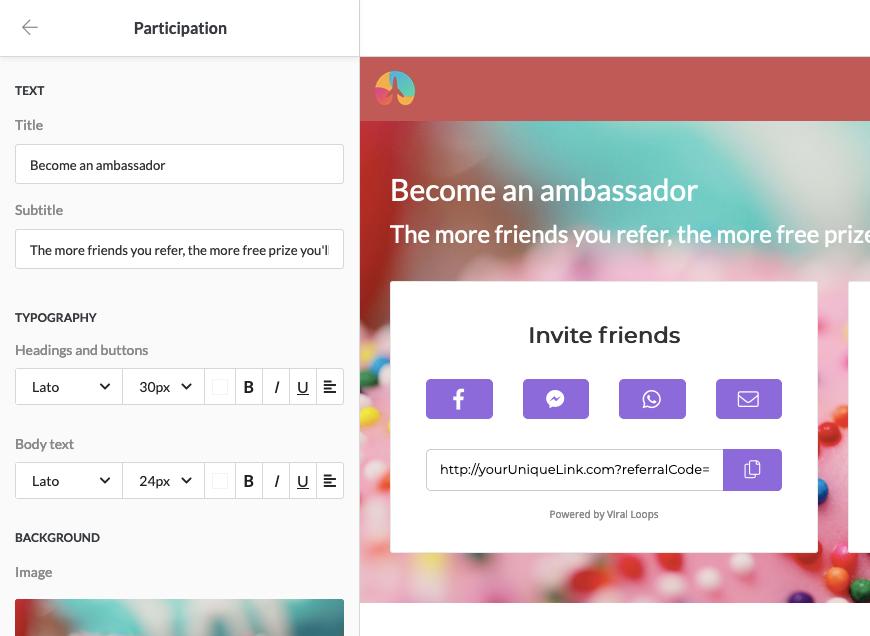 Viral Loops new page builder