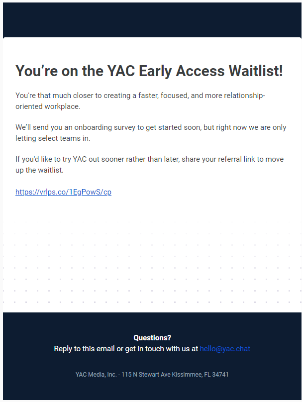 Yac's welcome email for prelaunch participants