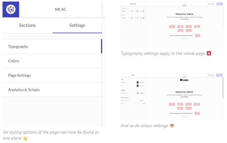 Viral Loops Pages global settings