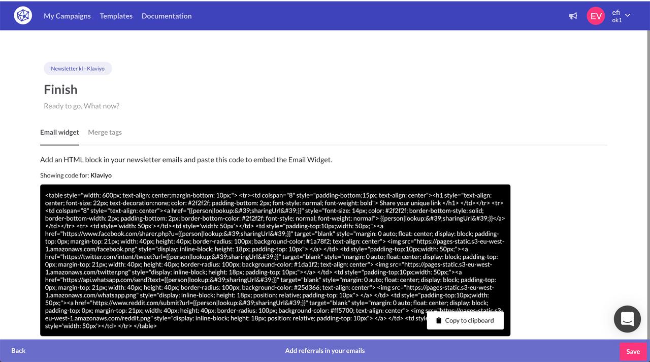 Newsletter referral widgets for Klaviyo emails