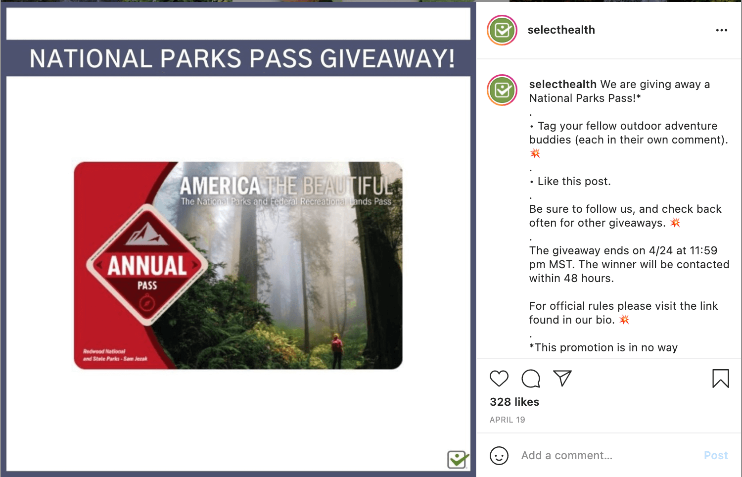 Select Health Giveaway Instagram