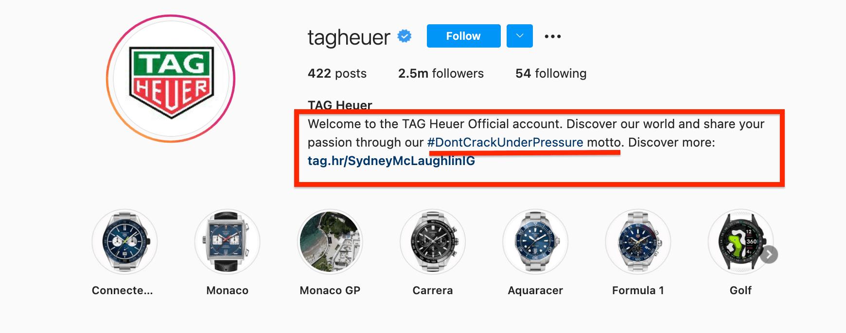 TAG Heuer Instagram Bio