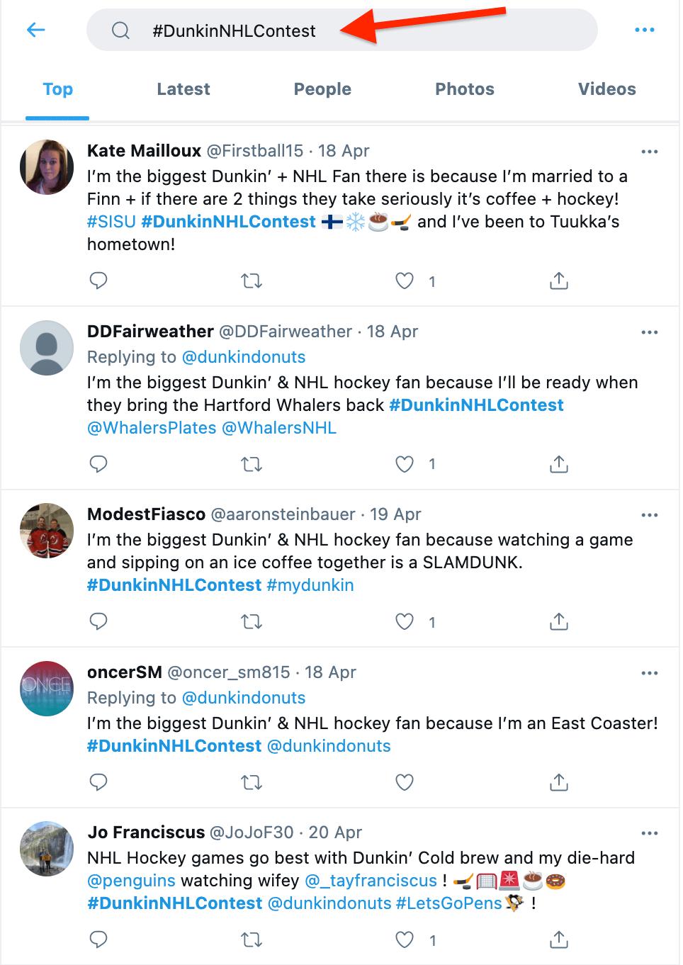Twitter Dunkin Contest Tweets
