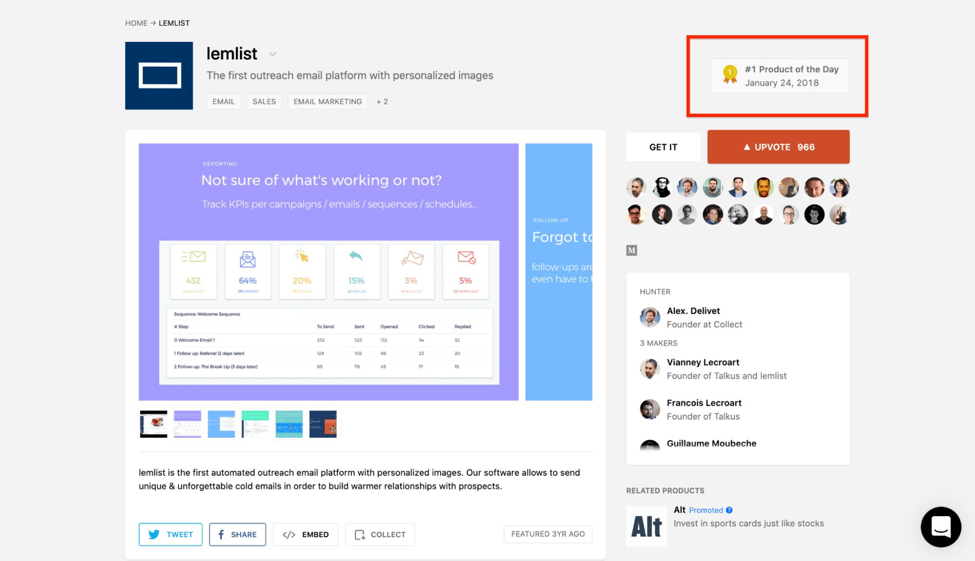 Lemlist Launch on Product Hunt