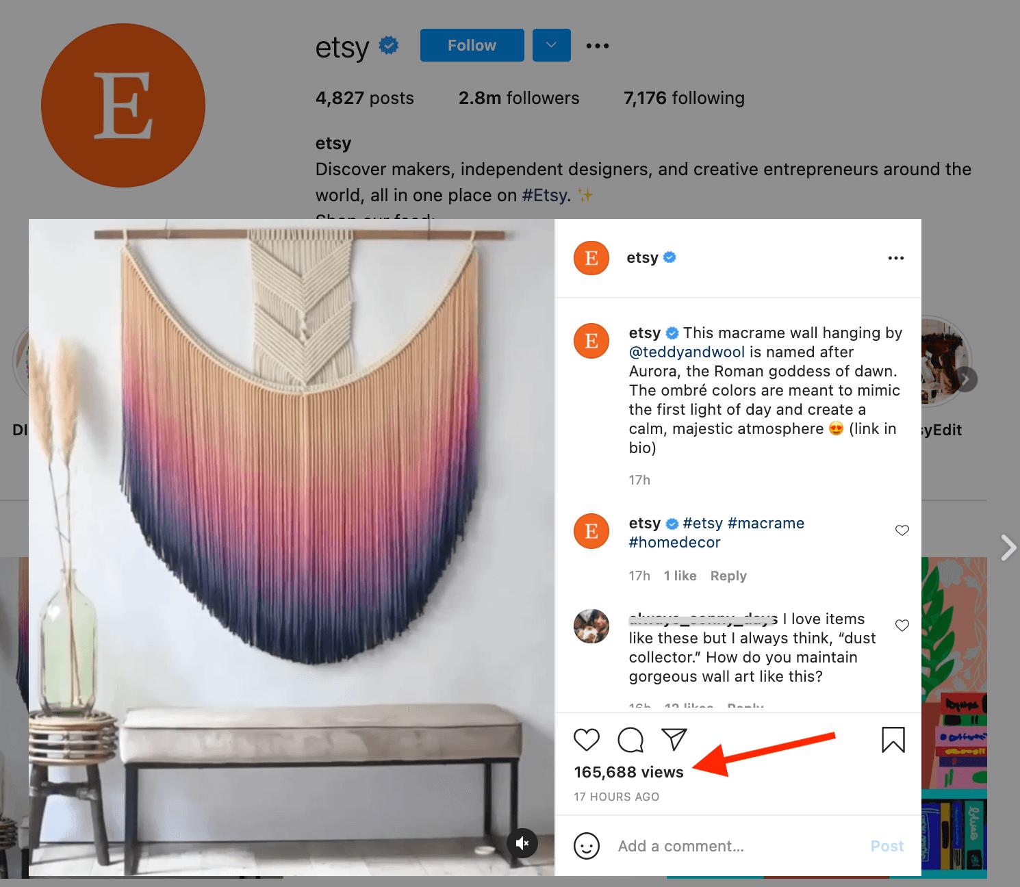 Etsy's instagram post