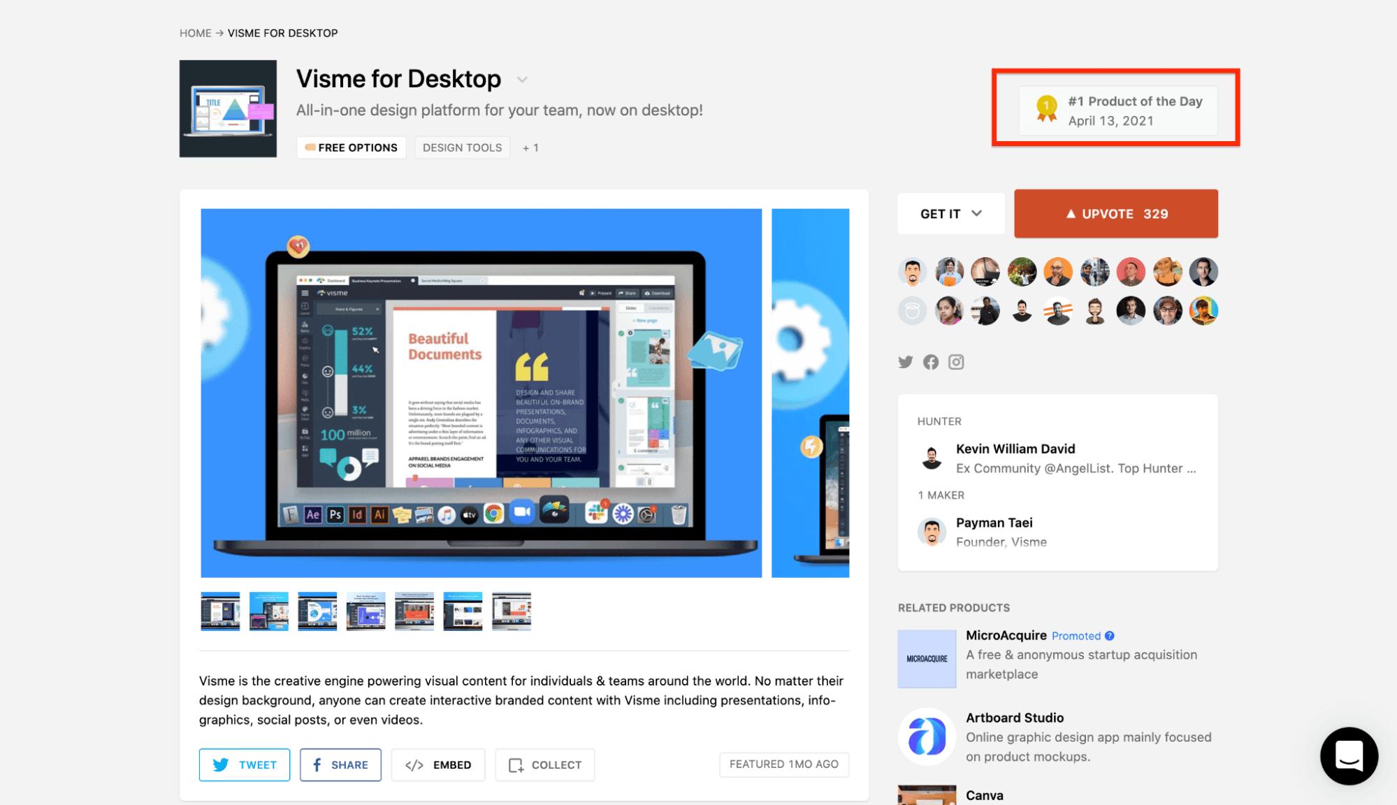 Visme for Desktop Product Hunt Launch
