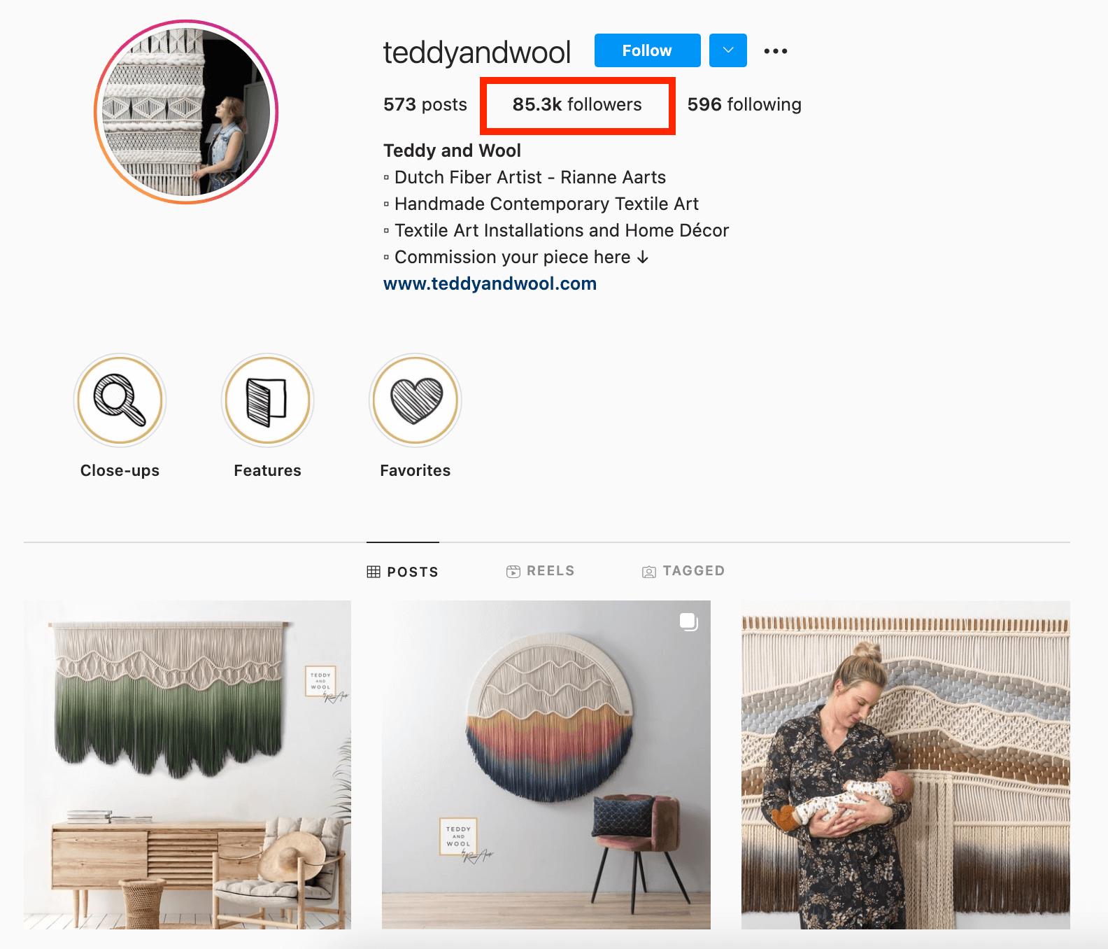 Etsy creator instagram profile