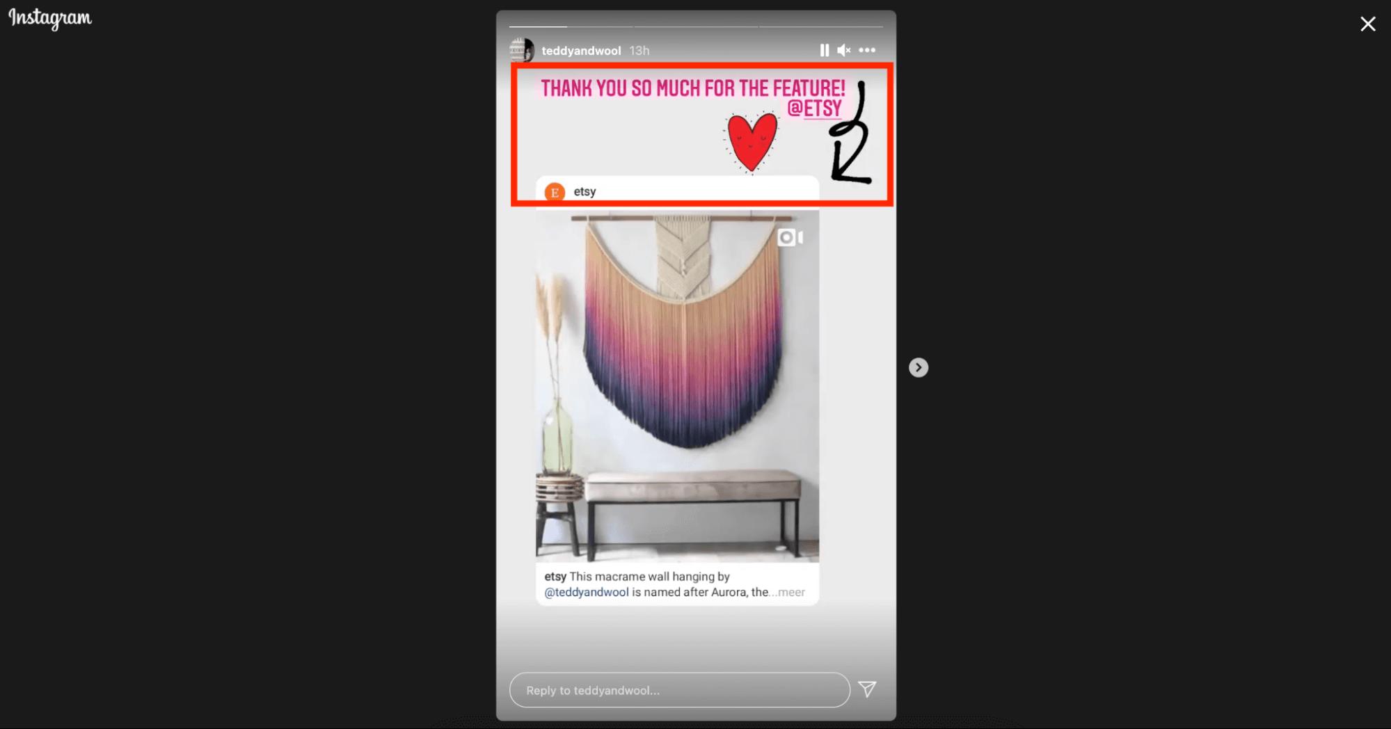 Etsy creator instagram story