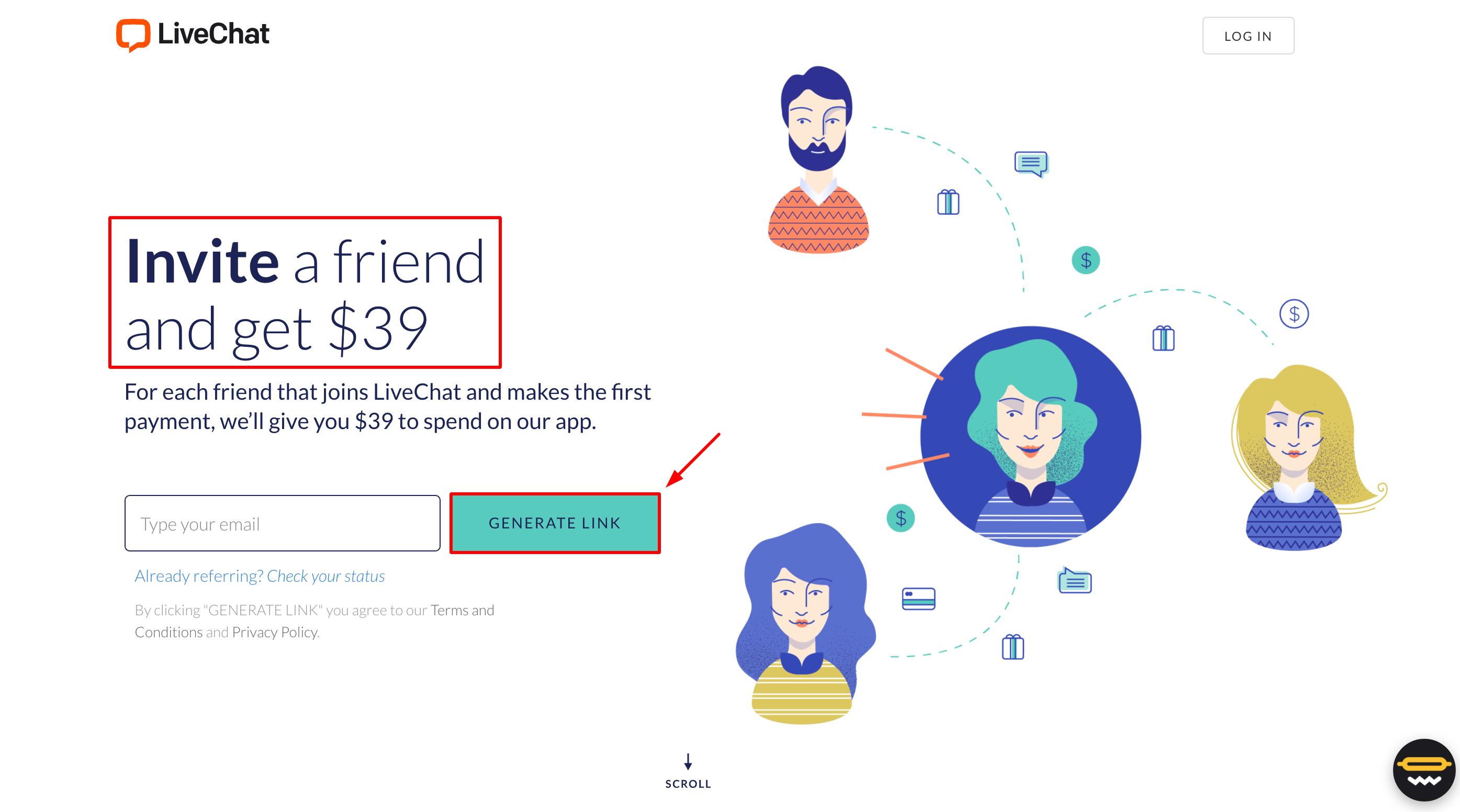 LiveChat referral program