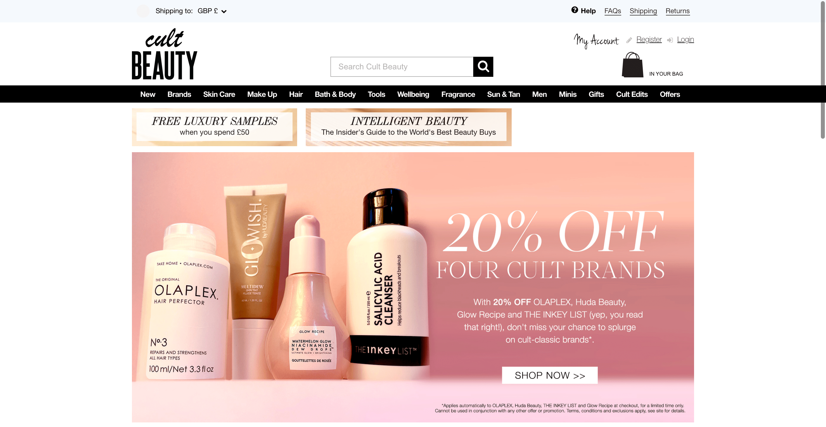 Cult Beauty Homepage