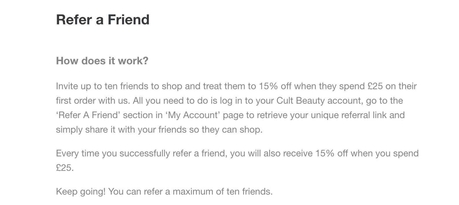 Cult Beauty Referral Program